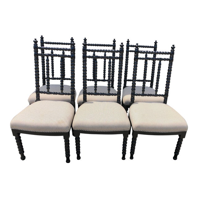 Black Wood Barley Twist Dining Chairs - Set of 6 For Sale