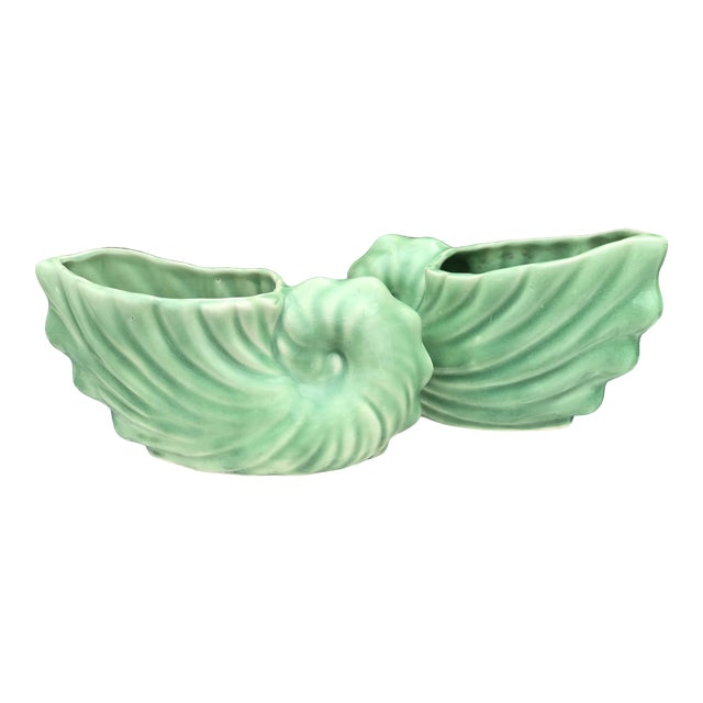 Vintage Fredericksburg Mint Green Nautilus Shell Planters-Pair For Sale
