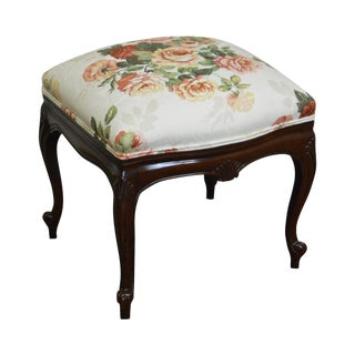 French Louis XV Style Solid Mahogany Floral Upholstered Ottoman Foot Stool For Sale
