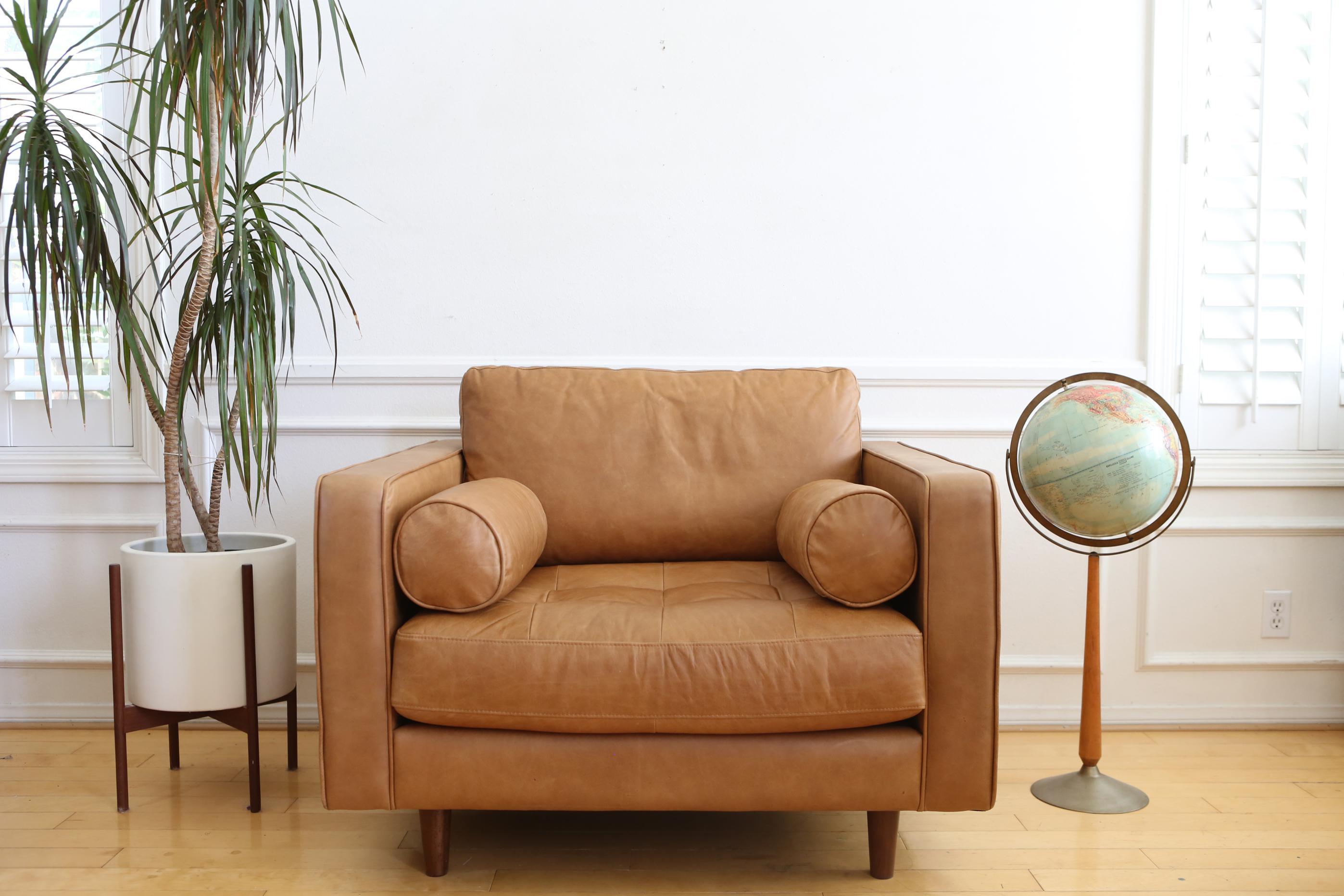 Mid Century Modern Genuine Leather Lounge Chair Chairish