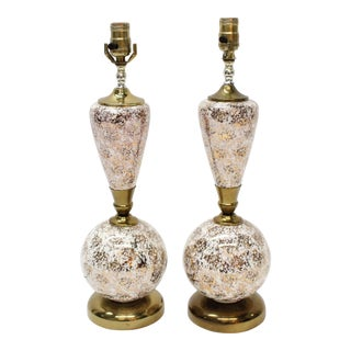 Hollywood Regency/Art Deco Gold Speckle Lamps - a Pair For Sale