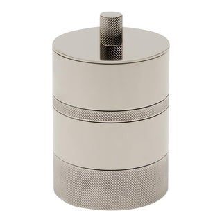 Luster Knurled Container in Nickel For Sale
