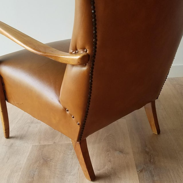 Mid 20th Century Italian Mid-Century Modern Leather Lounge Chairs With Rivets - a Pair For Sale In Seattle - Image 6 of 13
