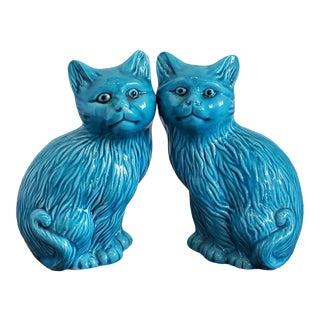 Vintage Porcelain Blue Cats - a Pair For Sale