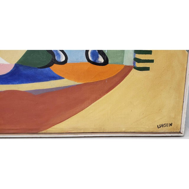 1940s Large Scale Vintage Mid Modern Oil Painting by Larsen C.1940s For Sale - Image 5 of 13