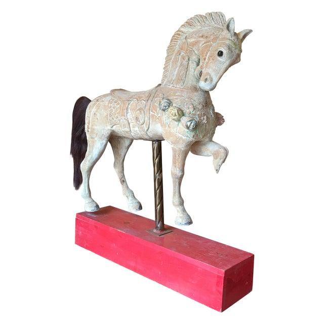 Antique Wooden Carousel Horse For Sale