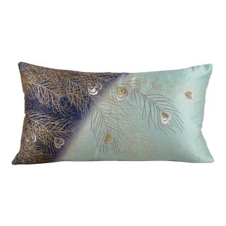 Hand-Painted & Embroidered Peacock Feather Japanese Kimono Pillow Cover