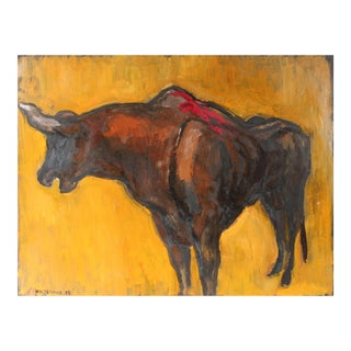 Mexican Bullfight in Oil Paint, 1947 For Sale