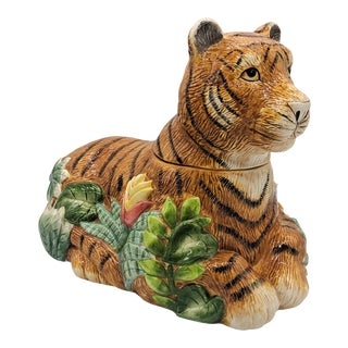 Late 20th Century Jungle Cat Leopard Cookie Jar For Sale