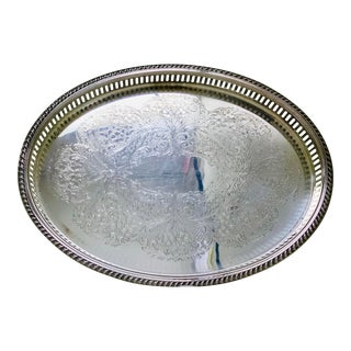 1950s Vintage Blackinton Silverplate Footed Gallery Tray For Sale