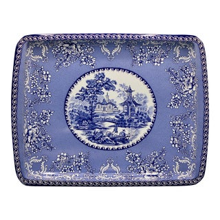 Vintage Chinoiserie Floral Blue and White Rectangular Tole Tray For Sale