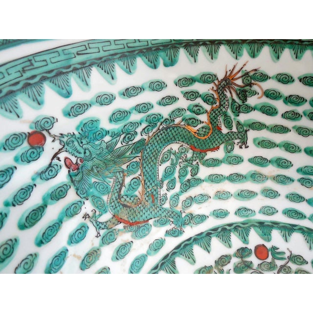 Mammoth Chinese Emerald Dragon Bowl - Image 6 of 7