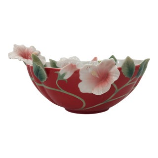 Franz Collection Porcelain Island Beauty Hibiscus Flower Bowl For Sale