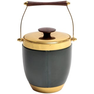 Italian Brass Leather and Rosewood Accented Ice Bucket For Sale