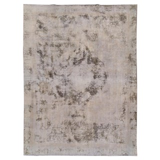 Vintage Distressed Overdyed Wool Rug For Sale