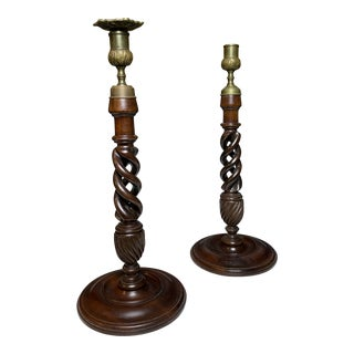 19th Century Barley Twist Candlesticks - a Pair For Sale
