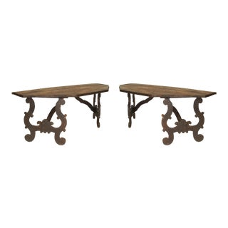 19th Century Italian Renaissance Style Stained Oak Consoles - a Pair For Sale