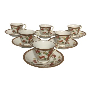 1940's Traditional Gilded Ceramic Demitasse Cups & Saucers - Set of 6 For Sale