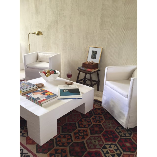 Contemporary Raw Plaster Mid-Century Modern Inspired Coffee Table For Sale - Image 3 of 6