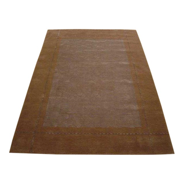 Hand Knotted Classic Geometric Rug - 6′ × 9′3″ For Sale