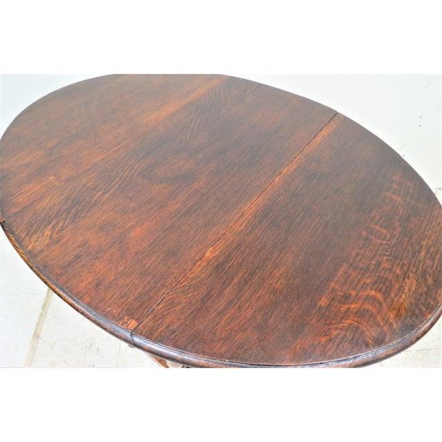 English English Drop Leaf Gate Leg Tiger Oak Apartment Table For Sale - Image 3 of 10