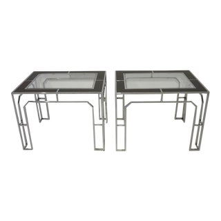 Milo Baughman Chrome Glass and Wood Side Tables - a pair For Sale
