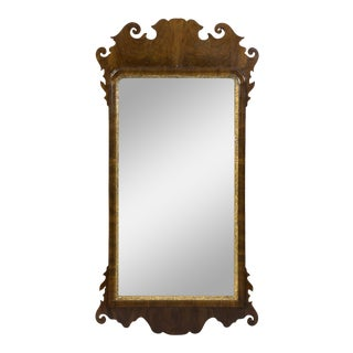 Antique English Queen Anne Walnut and Gilded Mirror For Sale