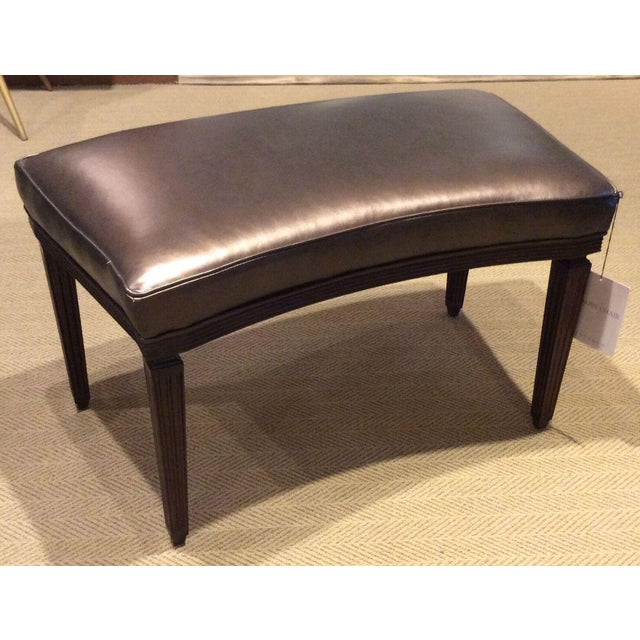 Rembrandt curved mahogany bench with espresso finish by Hickory Chair from Suzanne Kasler collection. Two benches are...