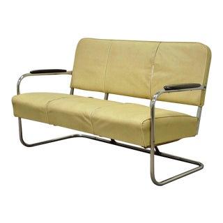 Vintage Kem Weber LLoyd Mfg Art Deco Tubular Chrome Bench Loveseat Sofa Chair A