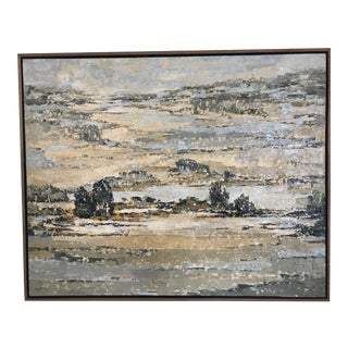 1970s Vintage Mid-Century Primitive Folk Art Abstract Landscape Oil Painting For Sale