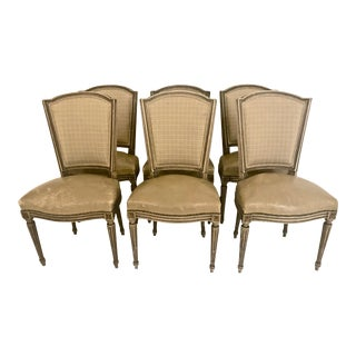 Set of 6 Painted Leather Louis XVI-Style Dining Chairs For Sale