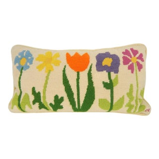 Vintage Floral Needlepoint Pillow For Sale