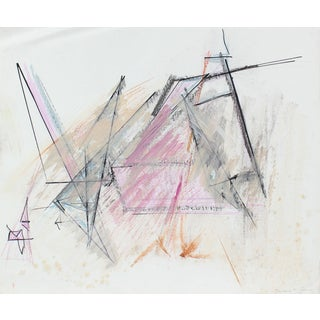 20th Century Pink and Black Abstract, Pastel on Paper For Sale