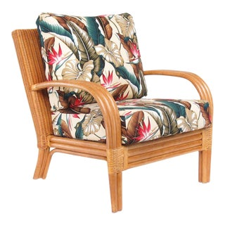 "Loop Arm Rattan ""Regata"" Lounge Chair W/ Woven Wicker Back For Sale"