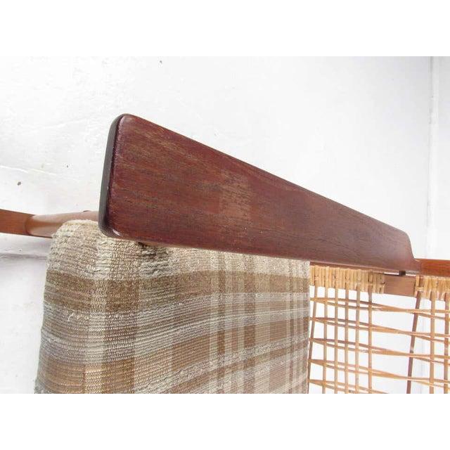 1970s Vintage Hans Olsen Teak Rocking Chair With Cane Back For Sale - Image 5 of 13