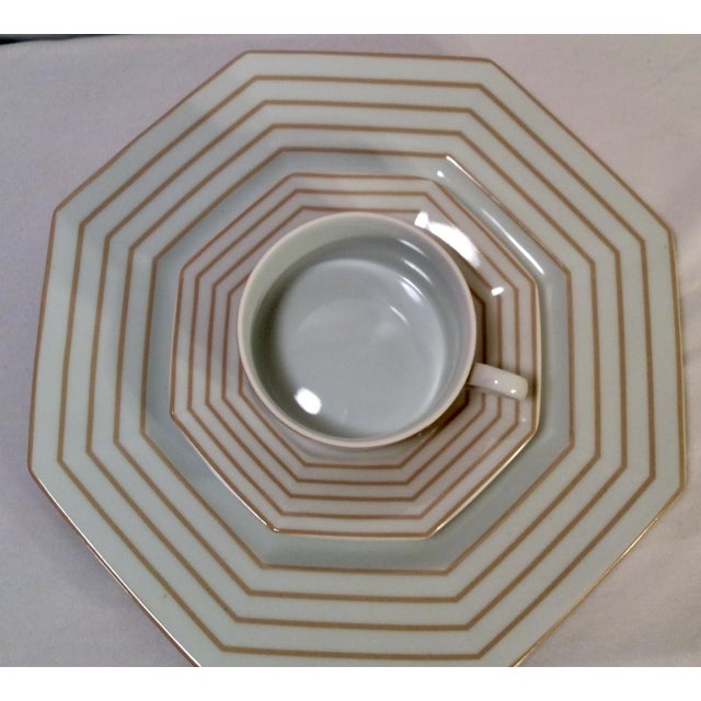 "Ceramic 1978 Fitz & Floyd Vintage China Table Service in Pinstripe ""Buff""-New/Old Stock, Set of 24pcs (8settings) For Sale - Image 7 of 13"