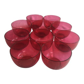 Hand Blown Cranberry Glass Finger Bowls - Set of 10 For Sale