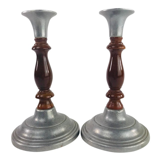 Vintage Mid Century Wood and Pewter Candlesticks- A Pair For Sale