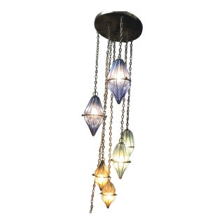 1930s Art Deco Hand-Blown Caged Bubble Glass 6 Light Pendant Chandelier