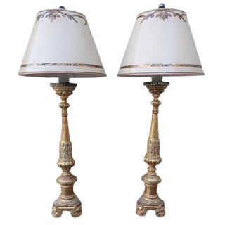 Giltwood Candlestick Lamps - A Pair For Sale