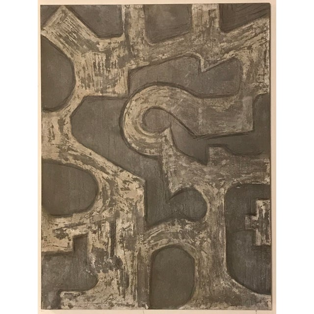 """Labyrinth"" is Venetian plaster over wood in shades of charcoal and gray. 48"" x 66"""