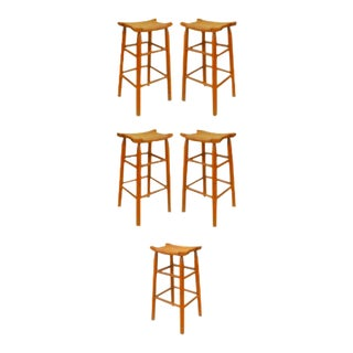 Rustic Old Hickory Pine Bar Stools - Set of 5 For Sale