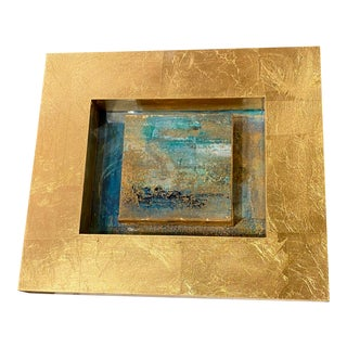 Small Contemporary Art in Gold Shadow Box Frame For Sale