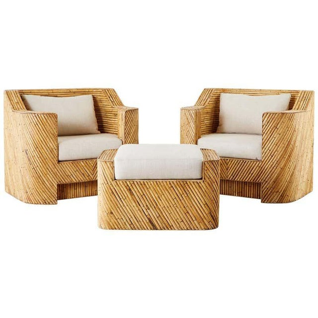 Pair of Gabriella Crespi Inspired Bamboo Rattan Lounge Chairs and Ottoman For Sale - Image 13 of 13