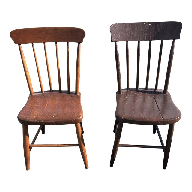 Vintage Rustic Schoolhouse Chairs - a Pair For Sale