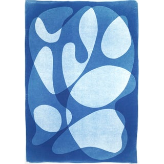 """""""Abstract Blue Face"""" Contemporary Abstract Cyanotype on Watercolor Paper For Sale"""