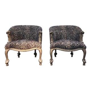 Vintage Hollywood Regency Rope & Tassel Leopard Club Chairs - a Pair For Sale