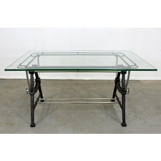Industrial Modern Cast Iron Glass Top Desk Table Preview