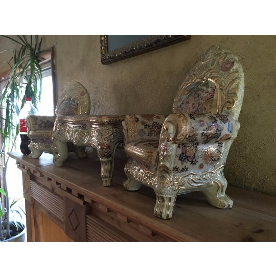 Asian Ornate Satsuma Miniature Table & Chairs - Set of 3 For Sale - Image 3 of 7
