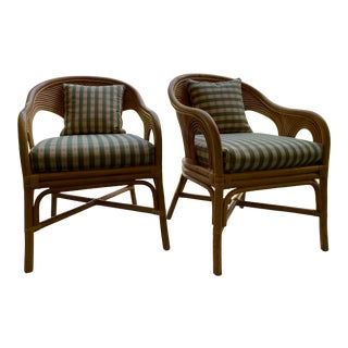 Contemporary Rattan Chairs With Cushions - a Pair For Sale
